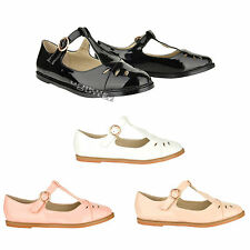 New womens ladies girls cut out flat buckle T-bar school office work shoe size