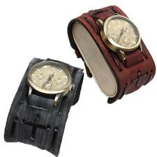 Vintage Men's Retro Punk Rock Brown Big Wide Leather Bracelet Cuff Strap Watch