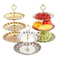 Cupcake Stand Aluminum Round Wedding Birthday Cake/Fruit Display Tower 2/3 Tier