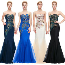 Peacock ~ Mermaid Formal Wedding Evening Dress Party Prom Ball Gown Bridesmaid