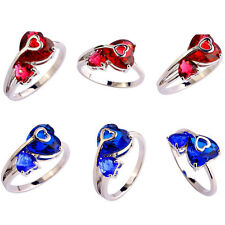 Heart Cut Garnet Sapphire Quartz Gemstone Silver Ring Size 9-11 Jewelry Gift