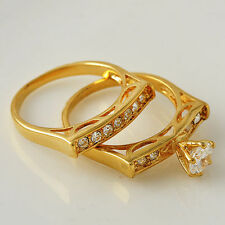 Flawless Chic Ring Set 18K Yellow Gold Filled Clear Cubic Zircon Ring Size 7 8 9