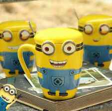 New Creative Cartoon Minions Ceramic Cup Tea Milk Coffee Mug with Spoon & Lid