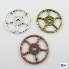 10pk Steampunk Spoked Wheel Gear Charm Pendant Antique Bronze Silver Red Copper