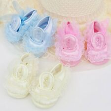 Newborn Baby Girl Princess Non-Slip Lace Flower Lace Soft Sole Crib Shoes 0-18M
