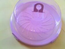 LARGE round cake STORAGE box plastic container TRAY clear lid cover clips handle