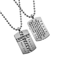Christian Dog Tag Cross Necklace, TRUST Proverbs 3:5,6 Steel Ball