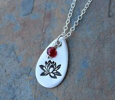 Lotus on a Raindrop Necklace- Handmade fine silver charm with birthstone crystal