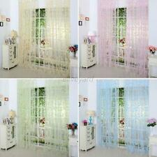 Door Window Floral Curtain Drape Panel Scarf Valances Sheer Voile Room Divider