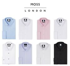 Moss London Mens Formal Prom Shirts Slim Fit Long Sleeve Single or Double Cuff
