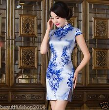 Retro New Slim Chinese Dress Women' Evening Mini Silk Dress Cheongsam Qipao