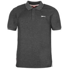 Slazenger Mens Plain Polo Shirt Charcoal New With Tags