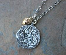 Seek & You Will Find Necklace -Pewter Squirrel Coin, Bronze Acorn Charm