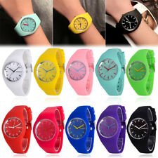 Colorful Womens Mens Sport Silicone Jelly Geneva Quartz Analog Wrist Watch