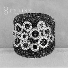 5.81CT 925 Sterling Silver Black Cubic Zirconia Flower Women Ring Party Ring