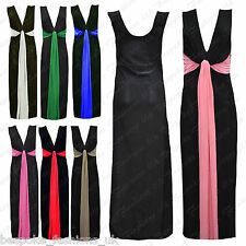 Ladies Women's Sleeveless 2 Tone Contrast Tie Knot Long Maxi Dress Plus Size