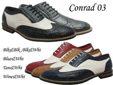 Men Man-made Leather Dress Shoes 2tone Color Wingtip Oxford Lace #5753
