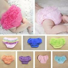 Newborn Baby Bloomers Panties Girls Cotton Lace Ruffle Nappy Diaper Cover 0-12M
