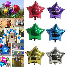 "5"" & 10"" Giant Foil Star Shape Balloons Happy Birthday Wedding Party Decor"