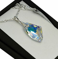 925 Silver Necklace made with Swarovski Crystals * GALACTIC* Crystal AB