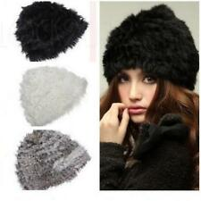 Women Real Rabbit Fur Knitted Cute Hat Cap Winter Warm Chapeau Beanie Headgear
