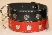 "Leather Dog Collar Studs Rottweiler 1 3/5""  wide 20 1/2"" - 24 4/5"" neck Dog XXL"