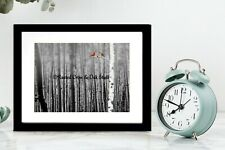 Red Cardinal Birds B&W Background Original Signed Matted Picture Art Photo A128