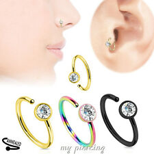 "2pc. 20g~5/16"" Titanium IP Surgical Steel with Clear CZ Gem Nose Hoop Rings"