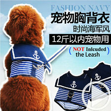 Pet Dog Harness Clothes Navy Sailor Walking Puppy Dog Cat Harness Vest Costumes