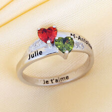 Personalized Silver Birthstones Custom Name Rings Mothers Gifts Christmas Gifts