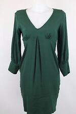 Adele Fado Green 100% Silk 3/4 Sleeve A Line Dress Size 10