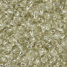 100g Clear Silver Lined Round Glass Seed Beads Size 6/0 (4mm) Jewellery Making
