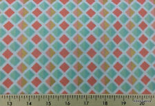 Peach & Mint Gold Diamond Tile Fabric By the Yard Geometric Cotton Fabric a5/3