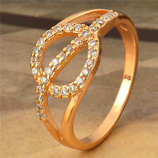 Shiny 24K Yellow Gold Filled Swarovski Crystals Womens Fashion Ring,Size 6,7,8,9