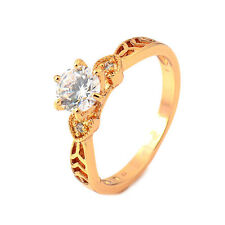 Vintage 18K Gold Filled crystal Crystals Womens Promise Heart Ring,Size 6,7,8