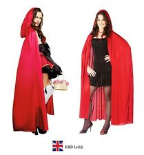Adult RED RIDING HOOD LONG CAPE Ladies Girls Fancy Dress Costume Halloween Party