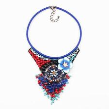 Bead Pendant Choker Crystal Flower Necklace Chunky Rope Chain Statement Jewelry