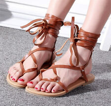 Womens Cow Leather Strappy Roman Gladiator Sandals Flat Ankle Strap Thong Sandal