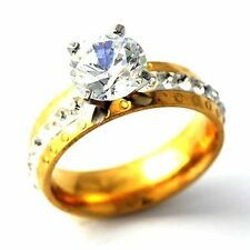 Flashing Bright Zircon Yellow Gold Filled Womens Love Ring Size 7 8 9 10
