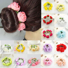 Flower Bun Garland Floral Head Knot Hair Top Scrunchie Band Elastic Bridal Party