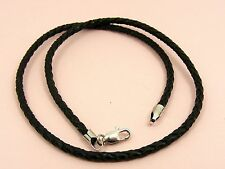 ~Custom Made~925 STERLING SILVER Braided LEATHER Choker Cord NECKLACE Crimp End