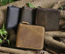 New Mens Genuine Leather Zipper Wallet Cowhide Trifold Coin Purse Card Holder
