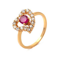 Gorgeous 18K Yellow Gold Filled Red Ruby & CZ Womens Heart Ring,Size 6,7,8,9