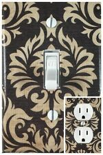 Brown Damsk Single Toggle Decorative Light Switch Cover Outlet Switch Wall Plate