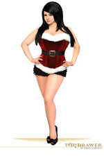 Women Sexy Top Drawer Red Holiday Velvet Steel Boned Sexy Lingerie Corset
