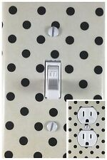 Black Polka Dots Single Toggle Decorative Light Switch Cover Outlet Switch Plate