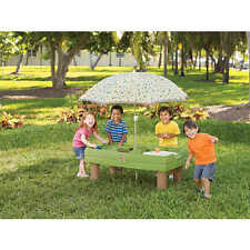 Step2 Naturally Playful Sand and Water Activity Center Green With Umbrella