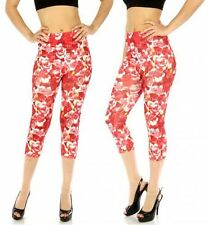 Blend Capri Leggings Red Floral Abstract Print  One Size fits S-L