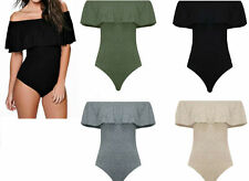 New Women Ladies Bardot Off Shoulder Frill Bodysuit Leotard Sleeveless Top 8-14