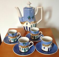 HAND PAINTED PORCELAIN HAND PAINTED 9 PIECE EXPRESSO COFFEE SET TRIOPICAL